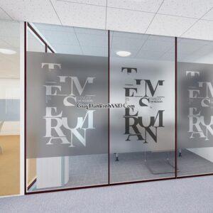 Trang trí văn phòng bằng tranh dán kính mờ 3D
